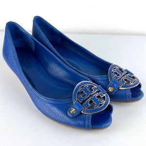 TORY BURCH Amanda Demi Wedge Tumbled Electric Blue